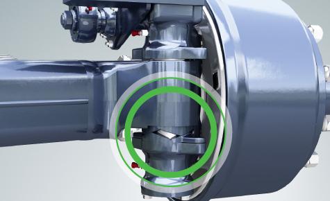 Zwrotnica w położeniu skrętu koła (max. do 27o zależne od parametrów technicznych pojazdu)